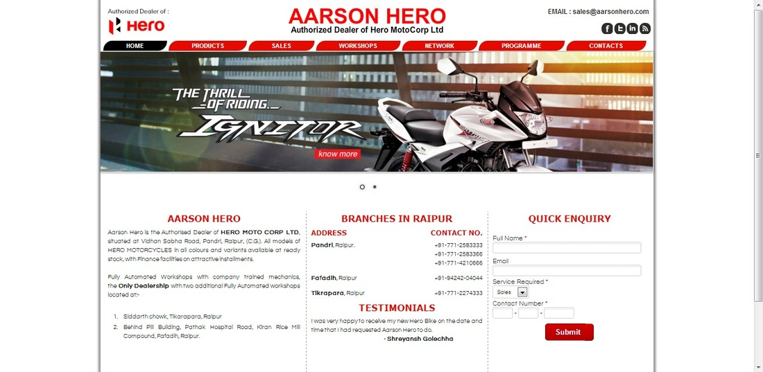Aarson Hero - Website Designing